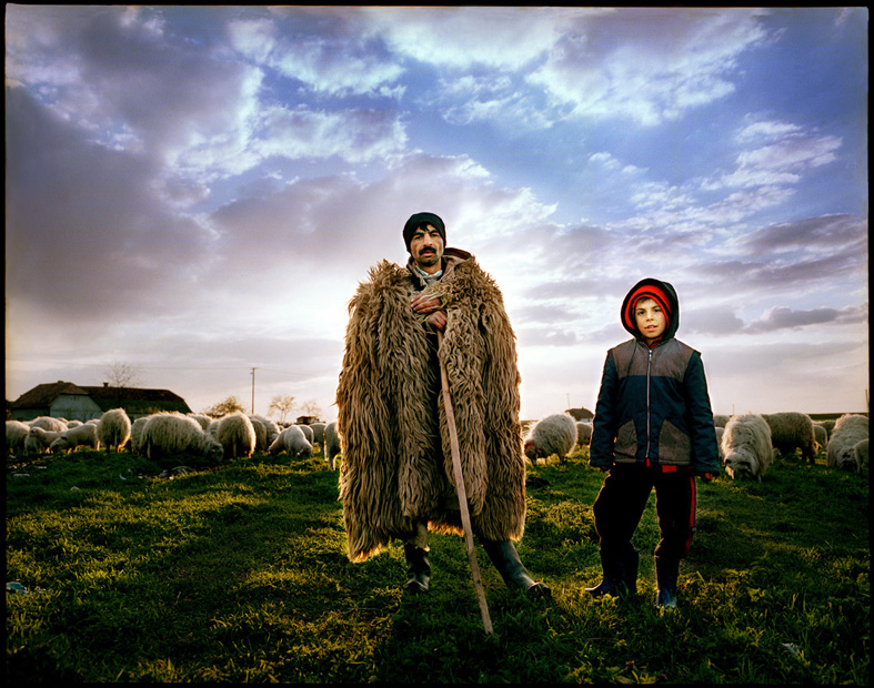 Shepherd and a boy, Periam, Romania.