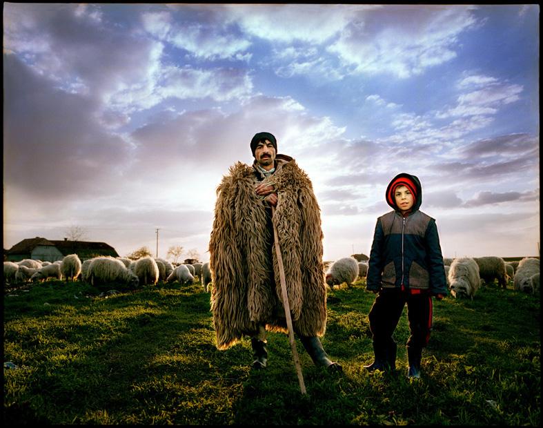 Shepherd and a boy, Periam, Romania.